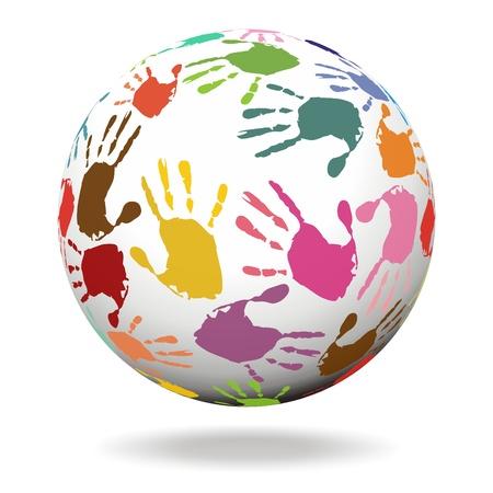 mundo manos: Esfera con impresiones de la mano