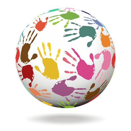 yellow earth: Sphere with hand prints Stock Photo