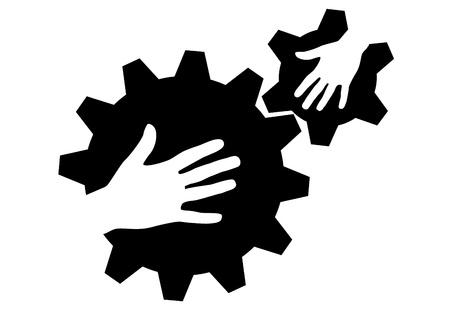 Hand in Hand, Hände an Zahnrädern Standard-Bild - 15217225