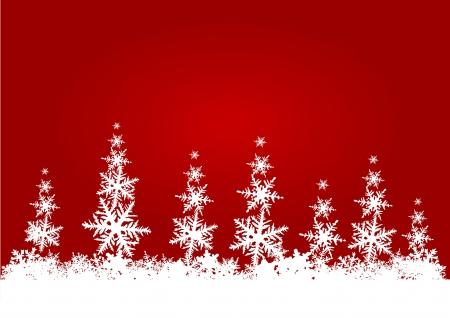 stylized winter forest with red sky Standard-Bild