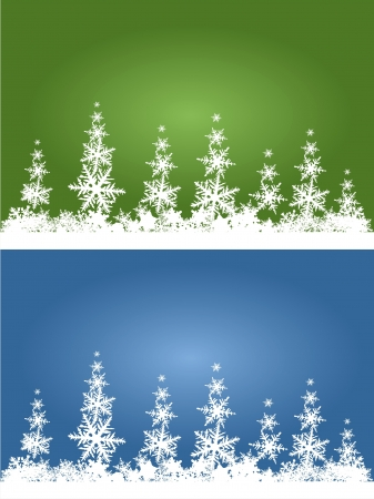 stylized winter forest with green and blue sky photo