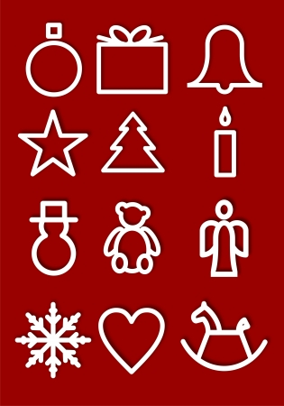 Christmas symbols on a Red Background
