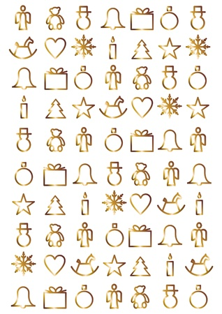 Golden Christmas symbols against white background  Stock Photo - 15325476