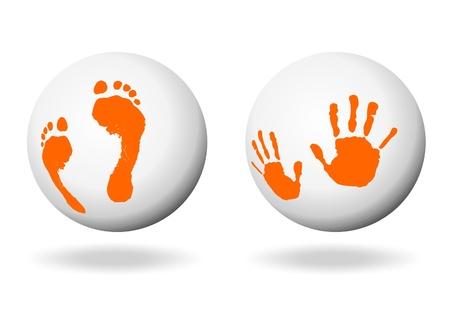 manos y pies: Mano y pie de impresión en una bal blanco