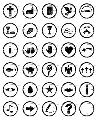 Various Christian black stamp motifs photo