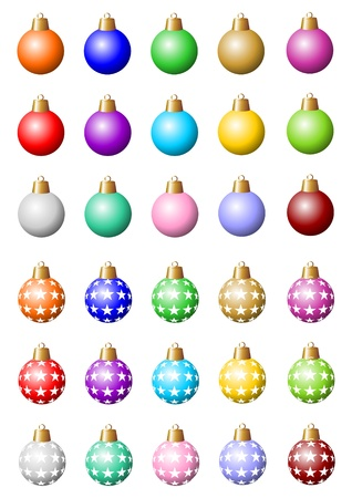 christmas motif: 30 various colorful baubles