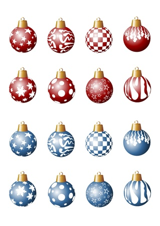 several red and blue Christmas tree balls photo