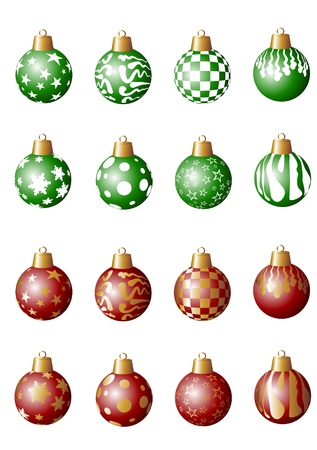several red and green Christmas tree balls photo