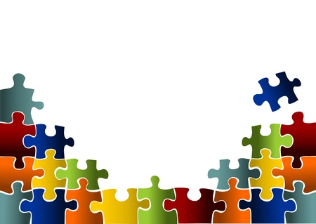 puzzle background: colorful puzzle pieces Stock Photo