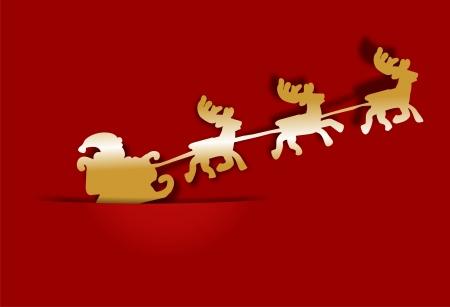 Golden reindeer sleigh as a banner photo