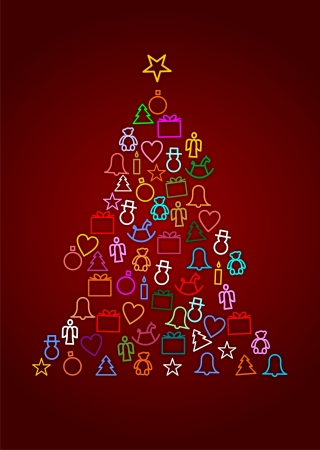 Christmas symbols in the form of a Christmas tree Stock Photo - 16326204