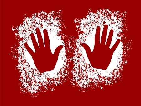 peinture rupestre: deux mains dans la farine comme une silhouette