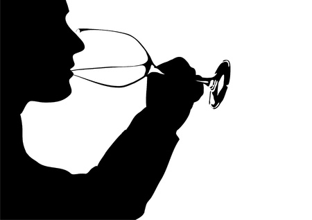 wine drinker, Silhouette photo
