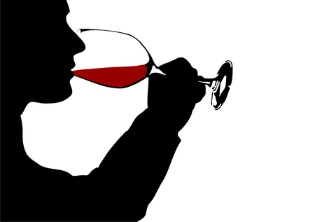 wine tasting: Red wine drinker, Silhouette Stock Photo
