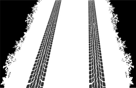 pneu: Tire tracks in the snow