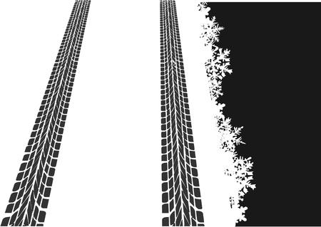 huellas de neumaticos: Huellas de neum�ticos en la nieve