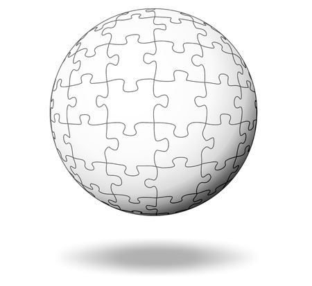 complete solution: white puzzle pieces as a ball