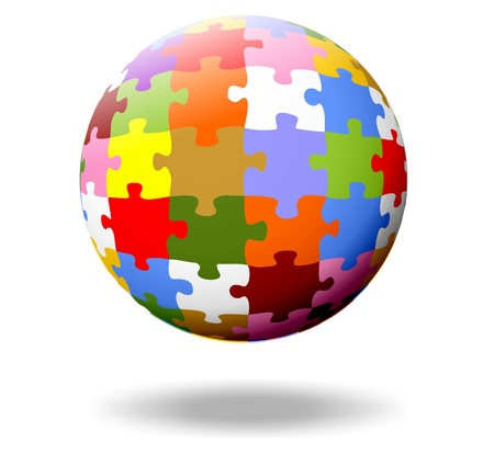 complete solution: colorful puzzle pieces as a ball Stock Photo