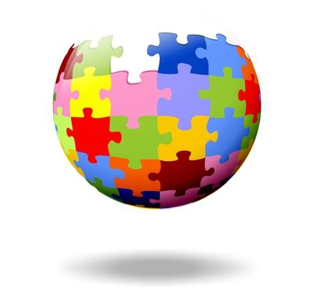 bunte Puzzleteile als Kugel Lizenzfreie Bilder