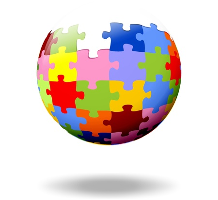 community service: colorful puzzle pieces as a ball Stock Photo