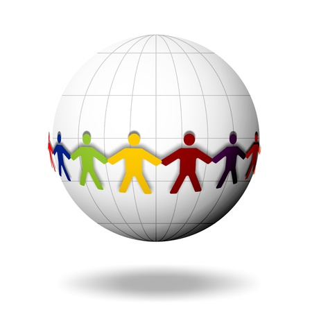 Human chain surrounds a ball Stock Photo - 17122516