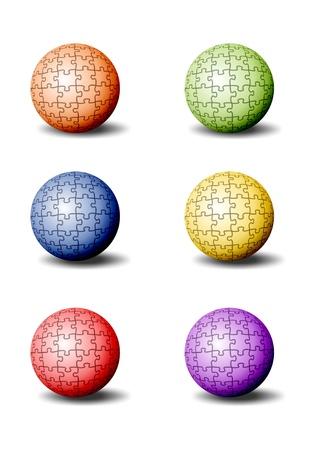 colorful puzzle pieces as balls