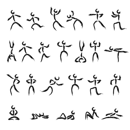 various stick figures, cave painting