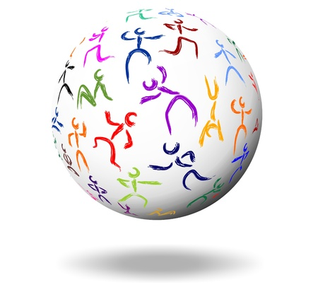 upturn: various stick figures on a white ball