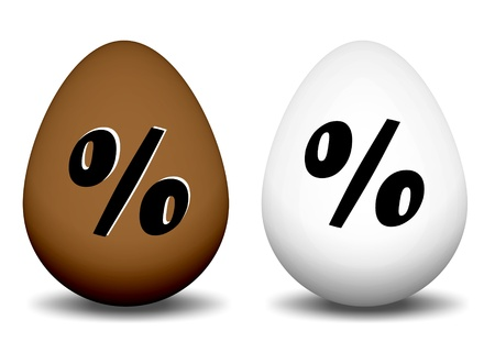 brown and white egg with a percent sign Stock Photo - 17362978