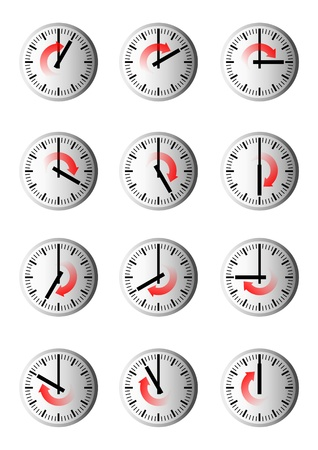 arouse: 12 clocks show hourly the time