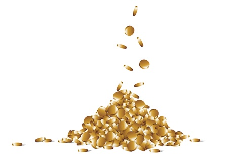gained: many gold coins falling from above