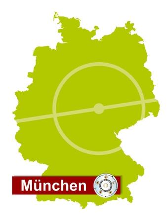 m�nchen: Duitse voetbal kampioenen München op een kaart van Duitsland