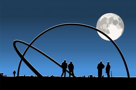 volle maan: Zonsondergang in de zomer veld