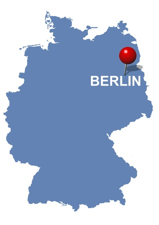 Berlin pictured on the map of Germany Vector