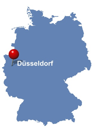 pictured: Düsseldorf pictured on the map of Germany Illustration
