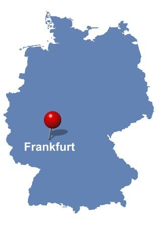 deutschland karte: Frankfurt auf der Karte von Deutschland abgebildeten