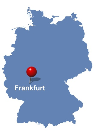 financial district: Frankfurt pictured on the map of Germany