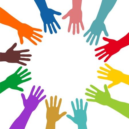 tolerancia: manos de colores que forman un círculo Foto de archivo