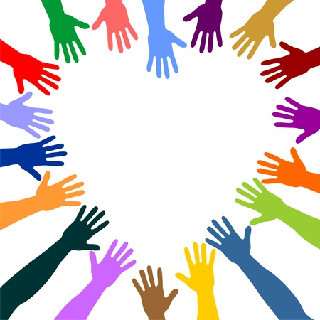 colorful hands form a heart Stock Photo