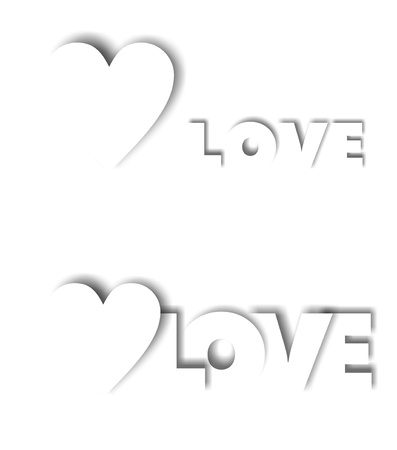Greeting card with a white heart and the word love photo