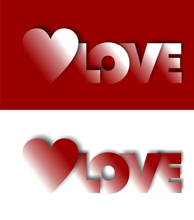 Greeting card with a red heart and the word love photo