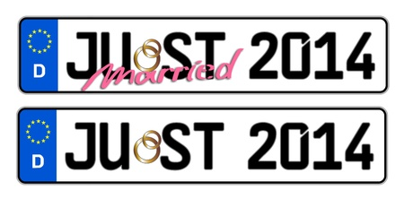 plaque immatriculation: just married 2014 Plaque d'immatriculation