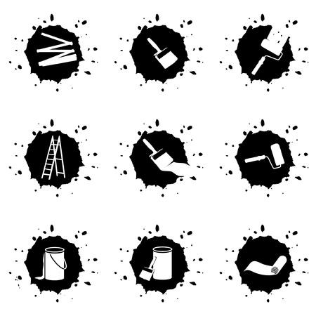 black blob buttons for painters, house painter Stock Photo - 19905766