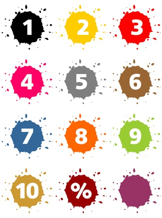 Colorful blots as percent-buttons and numbers Stock Photo - 19905790