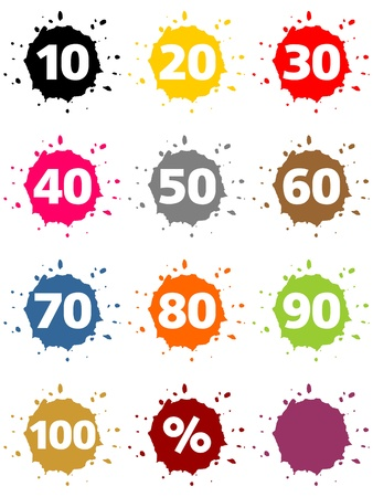 20 30: Colorful blots as percent-buttons and numbers