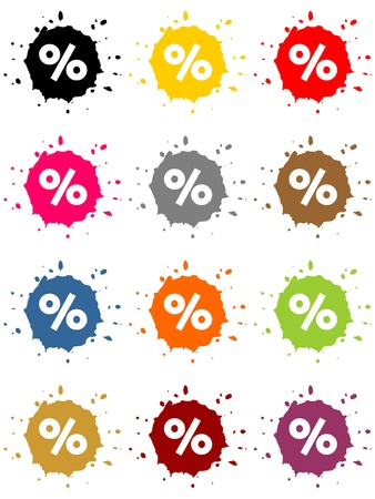 Colorful blots as buttons with percentage sign Stock Photo - 19905785