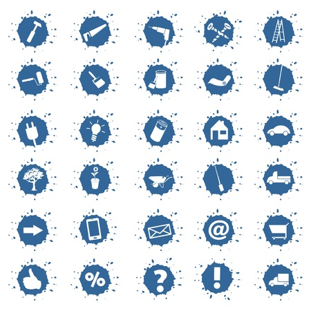 various buttons, icons and symbols for craftsmen Stock Photo