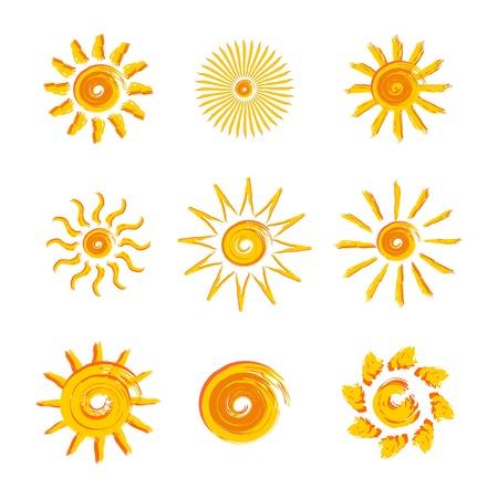 cartoon sun: 9 soles amarillos como un gr�fico