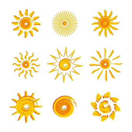 cartoon sun: 9 yellow suns as a graphic