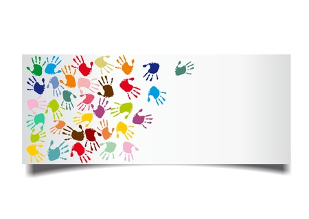 colorful handprints on a white card photo